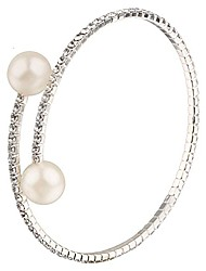 cheap -ethnadore silver plated pearl cz delicate strechable cuff bracelet for girls women