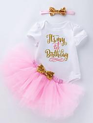 cheap -Baby Girls' Basic Letter Bow Print Short Sleeve Dress Purple Red Blushing Pink