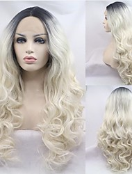 cheap -Synthetic Lace Wig Curly Style 14-24 inch Multi-color Middle Part 4x13 Closure Wig All Wig Blonde / Pink / Synthetic Hair