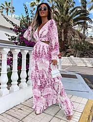 cheap -Women's A Line Dress Maxi long Dress Light Yellow Blushing Pink Sky Blue Light Green Long Sleeve Pattern Summer Casual 2021 S M L XL XXL XXXL
