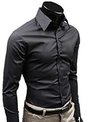 cheap -solid color black brand clothing shirt social masculine long sleeve slim fit men shirt business casual mens shirt