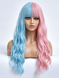 cheap -halloweencostumes amazon cross-border new product european and american wig ladies blue pink long curly hair chemical fiber wig headgear factory wholesale
