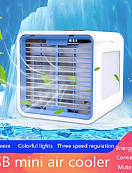 cheap -Mini Portable Air Conditioner 7 Colors Light Conditioning Humidifier Purifier USB Air Cooler Fan Desktop Small Air Conditioning Evaporative Portable Air
