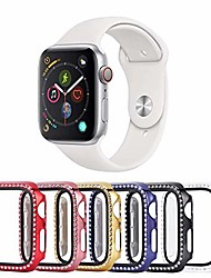 cheap -Smart watch Case 6 pack 40mm bling case with built-in tempered glass screen protector compatible with apple watch series 4/5/6/se (red,rose gold,gold,blue,black,clear)