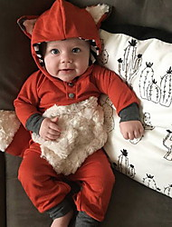 cheap -Baby Boys' Romper Basic Cotton Red Animal Patchwork Long Sleeve