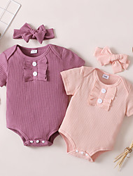cheap -Baby Girls' Basic Solid Colored Bow Short Sleeves Romper Purple Blushing Pink
