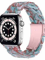 cheap -miimall compatible apple watch 42mm 44mm resin band women men bracelet stainless steel buckle band strap for apple watch se series 6 series 5 series 4 series 3/2/1 42mm 44mm(green red)