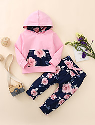 cheap -Baby Girls' Active Rose Floral Print Print Long Sleeve Regular Regular Clothing Set Blushing Pink