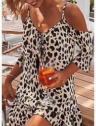 cheap -Women's A Line Dress Short Mini Dress Apricot Short Sleeve Leopard Print Cold Shoulder Spring Summer V Neck Hot Sexy Casual / Daily 2021 S M L XL XXL