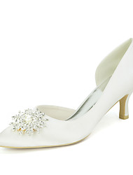 cheap -Women's Wedding Shoes Kitten Heel Pointed Toe Satin Rhinestone Imitation Pearl Solid Colored White Purple Red