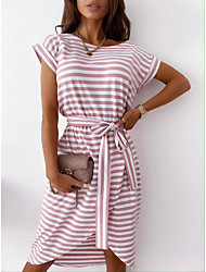 cheap -2021 european and american cross-border spring and summer new style striped printing casual fashion irregular dress 8368