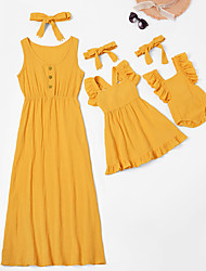 cheap -Mommy and Me Yellow/Pink/Navy Casual Sleeveless Ruffle Long Dresses with Headband