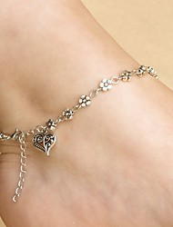 cheap -Anklet Vintage Women's Body Jewelry For Holiday Festival Alloy Heart Silver 1pc