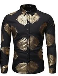cheap -men's casual shirts black vintage metal bronzing shirt men 2021 brand slim fit chemise homme nightclub mens dress tuxedo man