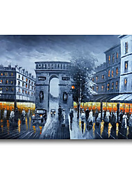 cheap -Oil Painting Handmade Hand Painted Wall Art Architecture Night Street Home Decoration Dcor Stretched Frame Ready to Hang