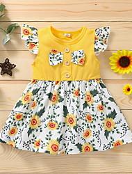 cheap -Baby Girls' Basic Sun Flower Floral Print Sleeveless Knee-length Dress Yellow