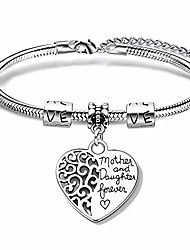 cheap -exgox silver bracelet for women the love between mother and daughter is forever charming bracelet bangle mum gift daughter gift for birthday