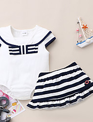 cheap -Baby Girls' Casual Print Short Sleeve Regular Clothing Set White