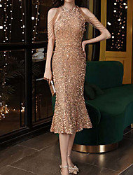 cheap -Mermaid / Trumpet Sparkle Sexy Homecoming Cocktail Party Dress Jewel Neck Sleeveless Tea Length Sequined with Sequin 2021
