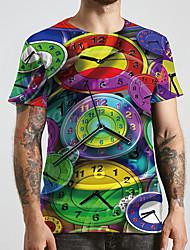 cheap -Men's Unisex Tee T shirt 3D Print Graphic Prints Clock Plus Size Print Short Sleeve Casual Tops Basic Designer Big and Tall Rainbow