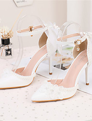 cheap -Women's Wedding Shoes Stiletto Heel Pointed Toe Wedding Pumps PU Bowknot Buckle Lace Solid Colored White