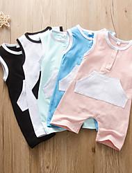 cheap -Baby Girls' Active Color Block Print Sleeveless Romper White