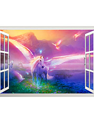 cheap -3D False Window White Pegasi Wings Home Children's Room Background Decoration Can Be Removed Stickers