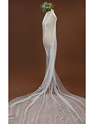 cheap -One-tier Vintage Wedding Veil Cathedral Veils with Faux Pearl Tulle