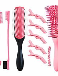 cheap -detangling brush for women include 9-row cushing nylon bristle,shampoo brush, double sided hair edge brush,5 crocodile clips hair detangling brush comb set for afo woman for thick curly hair 9 pcs