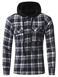 cheap -men's casual shirts plaid shirt 2021 autumn fashion men brand clothing long sleeve lattice hooded camisa social xxxl