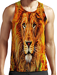 cheap -Men's Unisex Tank Top Undershirt Shirt 3D Print Graphic Prints Lion Animal Plus Size Print Sleeveless Casual Tops Basic Fashion Designer Breathable Round Neck Orange / Sports / Summer