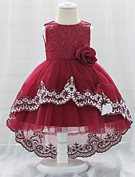 cheap -Baby Girls' Basic Butterfly Solid Colored Embroidered Mesh Bow Flower Sleeveless Knee-length Dress Blushing Pink Wine Gold