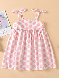 cheap -Baby Girls' Basic Polka Dot Solid Colored Bow Sleeveless Dress Blushing Pink