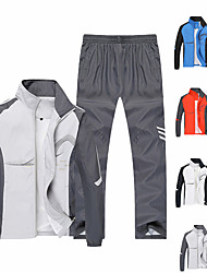 cheap -Men's Long Sleeve Tracksuit Sweatsuit 2 Piece Zipper Pocket Outfit Set Clothing Suit Athletic Athleisure Breathable Soft Fitness Running Jogging Exercise Sportswear Plus Size White Blue Red Light Gray