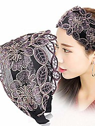 cheap -suodao women's headbands for summer broadside toothed floral printed silk head hoop bands hair accessories(purple)