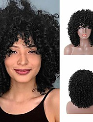 cheap -hawkko natural black short kinky curly synthetic afro hair wigs heat resistant wigs with bangs kinky curly wig for black women natural looking for daily used 1b