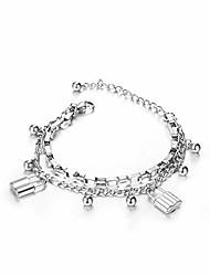 cheap -liuanan charm lock layered chain bracelet stainless steel punk chain bracelet jewelry for women teens girls (lock chain-silver)