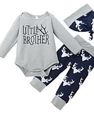 cheap -Baby Girls' Active Print Print Long Sleeve Regular Regular Clothing Set Gray