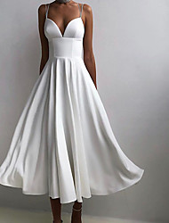 cheap -Women's Swing Dress Maxi long Dress White Blue Purple Red Black Sleeveless Solid Color Backless Summer V Neck cold shoulder Party Elegant Casual 2021 S M L XL