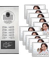 cheap -7 inch Multi Apartment Video&Audio Smart DoorbellLock Release Button For 10 Families