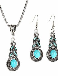 cheap -tianhongyan fashion bohemia turquoise earrings tribal vintage dangle earrings necklace pendant with turquoise bead tassel earrings for women girls (combination)