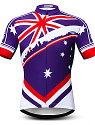 cheap -21Grams Men's Short Sleeve Cycling Jersey Summer Spandex Polyester Violet Sweden Australia Bike Jersey Top Mountain Bike MTB Road Bike Cycling Quick Dry Moisture Wicking Breathable Sports Clothing