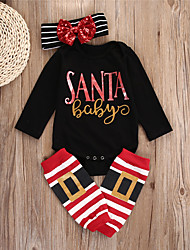 cheap -Baby Girls' Basic Striped Long Sleeve Regular Clothing Set Black