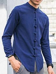 cheap -zeeshant men shirts long sleeve chinese style mandarin collar traditional kung fu tang casual social shirt brand clothing