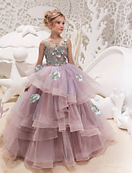 cheap -Princess Maxi Party / Birthday / Pageant Flower Girl Dresses - Lace / Organza / Tulle Sleeveless Jewel Neck with Lace / Appliques