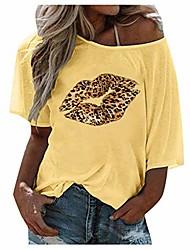 cheap -roiper shirt women, t-shirts v neckline tops leopard blouses round neck top off shoulder women long shirts summer tshirts loose blouse short sleeve t shirt with lip print
