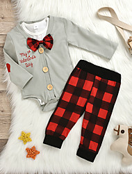 cheap -Baby Girls' Basic Plaid Bow Long Sleeve Regular Clothing Set Gray
