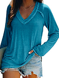 cheap -Women's T shirt Solid Colored V Neck Tops Basic Casual Basic Top Pink Blue Green