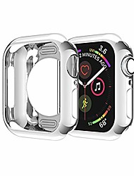 cheap -case compatible for apple watch case 42mm series 3/2/1 soft ultra-slim lightweight scratch resistant protective bumper cases cover frame shell flexible tpu housing for iwatch 42 mm silver