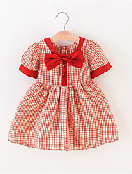 cheap -Baby Girls' Vintage Red Plaid Bow Short Sleeve Above Knee Dress Red
